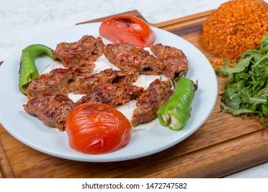 Adana kebap with salat and bread