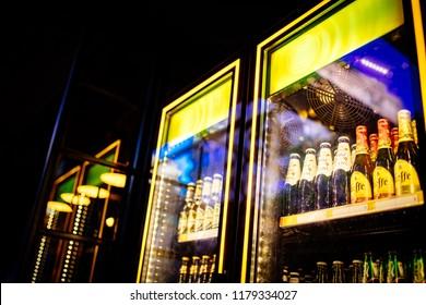 Adana, Seyhan / Turkey - 09-01-2018 : Leffe Beers are cooling in fridge, freezer or refrigerator shelf.
