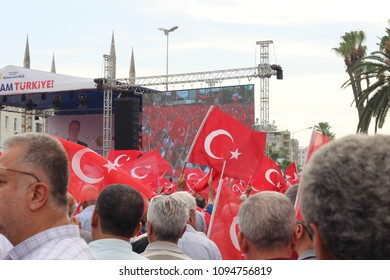 Adana - Turkey. 20 May 2018.  Speech of Mr.Muharrem Ince, head of the secularist Republican People's Party (CHP), from a distance & between Turkish flags.