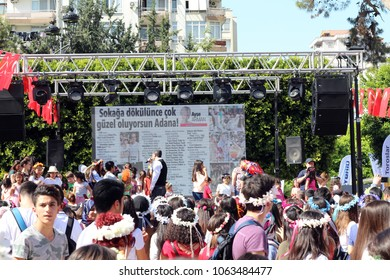 Adana - Turkey. 7 April 2018. 6th International Orange Blossom Carnival. Shows people with colorful clothes, orange hats, different makeup styles and lots of musicians showcasing one of Adana's.