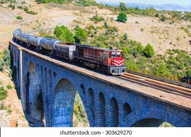 ADANA (VARDA BRIDGE), TURKEY - NOVEMBER 23, 2014: Varda railway bridge, This is the last James Bond (skyfall) movie was filmed on the bridge