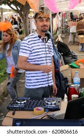 ADANA,TURKEY-APRIL 9:Unidentified DJ playing music at Orange Blossom Carnival.April 9,2017 in Adana,Turkey