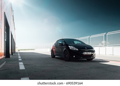 ADANCATA, ROMANIA - August 2, 2017 - View of Peugeot 208 GTI on circuit in Adancata, Romania.