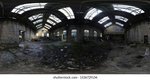 Adandoned factory hall 360 degree panorama