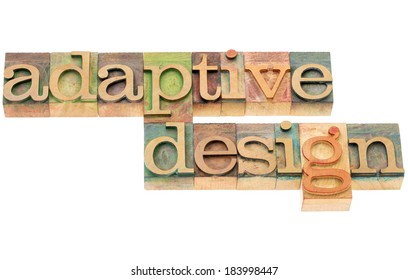 adaptive design - website development concept - isolated text in letterpress wood type