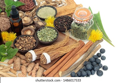 Adaptogen food with herbs, spices, fruit, essential oil & supplement powders. Used in herbal medicine to help the body resist the damaging effect of stress & restore normal physiological functions.