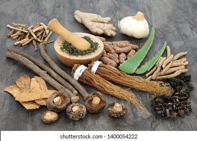 Adaptogen food selection with herbs and spices. Used in herbal medicine to help the body resist the damaging effect of stress and restore normal physiological functioning. Top view.