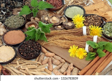 Adaptogen foods with herbs and spices. Used in herbal medicine to help the body resist the damaging effect of stress and restore normal physiological functioning. On white background.