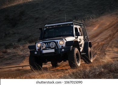 Adazi, LV - APR 1, 2016: Jeep Wrangler JK Unlimited Rubicon Recon in desert