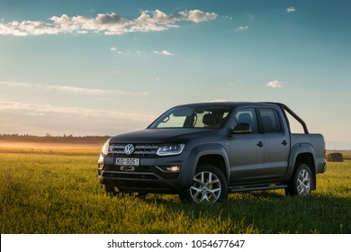 Adazi, LV - AUG 25, 2017: Volkswagen Amarok in valley