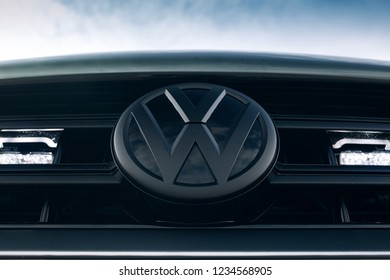 Adazi, LV - SEP 9, 2018: Volkswagen logo black style special edition on the front grill of car