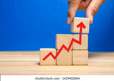 add red arrow head point up as the growth of business , economy, marketing, career path and performance concept