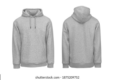 Add your own design. Front and Back Heather Grey Pullover Hoodie. Isolated on a White Background for Easy Editing and Personalisation. Photographed on a Medium-Sized Male Ghost Mannequin. - Shutterstock ID 1875209752