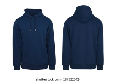 Add your own design. Front and Back Navy Blue Pullover Hoodie. Isolated on a White Background for Easy Editing and Personalisation. Photographed on a Medium-Sized Male Ghost Mannequin. - Shutterstock ID 1875225424