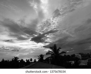 Addalachenai, Sri Lanka-  April 21 2019: a gloomy evening by the sea