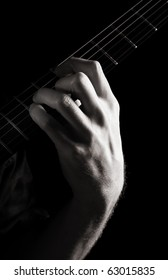 Added ninth minor chord (Dm-add9) on electric guitar; toned monochrome image;