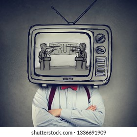 Addicted to fake news man with television instead of his head watching TV with two politicians, liar businessmen having a debate
