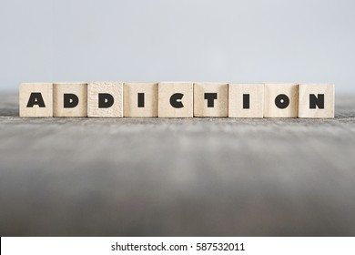 ADDICTION word made with building blocks