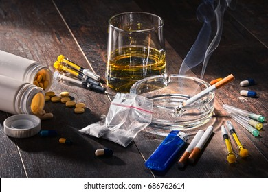 Addictive substances, including alcohol, cigarettes and drugs.