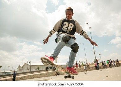 Addis Ababa, April 21: Ethiopia Skate, a local grassroots community of skateboarders organise a skateboarding event at a local skate spot on April 21, 2013 in Addis Ababa, Ethiopia