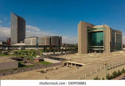 Addis Ababa, Ethiopia - 06 15 2017: The Headquarters Building of the African Union (AU) - left- with the Adrican Union Grand Hotel - right - on a sunny Day with Blue Sky