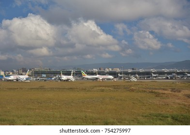 ADDIS ABABA, ETHIOPIA -28 OCT 2017- The Addis Ababa Bole International Airport (ADD), formerly known as Haile Selassie International Airport, serves as the main hub for Ethiopian Airlines (ET).