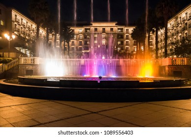 Addis Ababa / Ethiopia - August 12 2016 : Fountain show at Sheraton Hotel