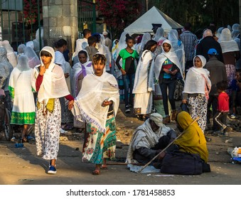 Addis Ababa, Ethiopia - Feb 04, 2020: Ethiopian Orthodox people at Miskaye Hizunan Medhanealem church in Addis Ababa Ethiopia in Africa