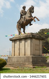 Addis Ababa, Ethiopia - January 18, 2010: Menelik II equestrian statue in Addis Ababa, Ethiopia. Victory over the Italian invaders had earned Menelik II a great fame.