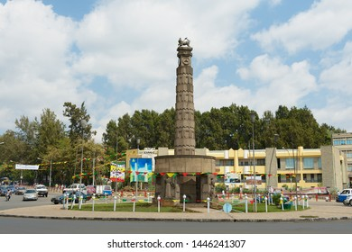 Addis Ababa, Ethiopia - January 18, 2010: Arat Kilo monument at the Meyazia 27 Square in Addis Ababa, Ethiopia. Monument commemorates Ethiopia's liberation from Fascist Italy.