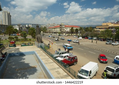 Addis Ababa, Ethiopia - January 18, 2010: View to the street in downtown with the iconic statue of the Lion of Judah in Addis Ababa, Ethiopia.
