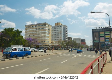 Addis Ababa, Ethiopia - January 18, 2010: View to the street in downtown Addis Ababa, Ethiopia.
