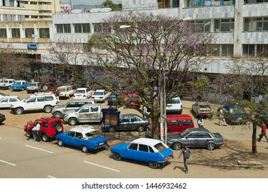 Addis Ababa, Ethiopia - January 18, 2010: Car perking at the residential building in downtown Addis Ababa, Ethiopia.