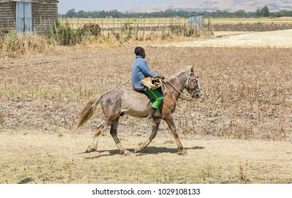 Addis Ababa, Ethiopia, January 30, 2014, Man riding a horse next to a dry field