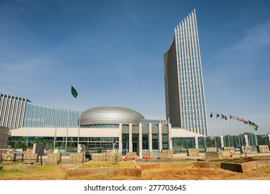 ADDIS ABABA, ETHIOPIA - MAY 1, 2015 : The African Union's headquarters building in Addis Ababa. It is the tallest building in Addis Ababa.