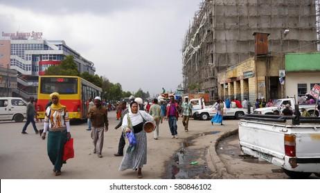 ADDIS ABABA, ETHIOPIA, November 2013: Street scene in Addis Ababa