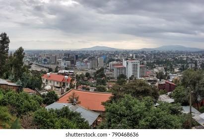 Addis Ababa, Ethiopia - October 2017: Panorama of the Capital City of Ethiopia, Addis Ababa