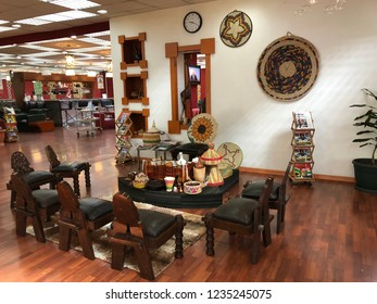 ADDIS ABABA, ETHIOPIAN - APRIL 2018 : Coffee ceremony zone at Cloud Nine Business Class Lounge inside Addis Ababa Bole International Airport, Ethiopia on April 12, 2018