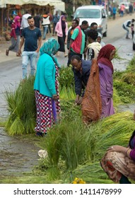 ADDIS ABABA, ETHIOPIA-SEPTEMBER 11, 2017: Unidentified people buy and sell decorateive grass for the Ethiopian New Year celebration of Enkutatash.