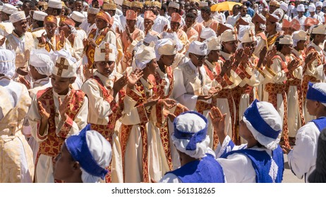 Addis Ababa - Jan 19: Ethiopian Orthodox Clergy and followers sing and chant while accompanying the Tabot during a colorful procession of Timket on January 19, 2017 in Addis Ababa, Ethiopia.