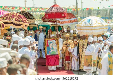 Addis Ababa - Jan 19: Priests, accompanied by Clergy, carry the Tabot, a model of the Arc of Covenant, during a colorful procession of Timket on January 19, 2017 in Addis Ababa, Ethiopia.