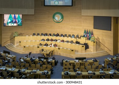 Addis Ababa - July 28: President Obama delivers a keynote speech to the African continent and its leaders, on July 28, 2015, at the Nelson Mandela Hall of the African Union in Addis Ababa, Ethiopia.