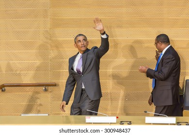 Addis Ababa - July 28: President Obama waves to the enthusiastic crowd attending his speech, on July 28, 2015, at the Nelson Mandela Hall of the AU Conference Centre in Addis Ababa, Ethiopia.
