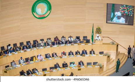 Addis Ababa -  May 25: H.E. Dr. Nkosazana Dlamini-Zuma, Chairperson of the African Union Commission delivers a speech at the 50th Anniversary of the OAU/AU in Addis Ababa, Ethiopia on May 25, 2013.