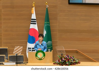 Addis Ababa, May 27, H.E., MME, Park Geun-Hye, President, Republic of Korea, delivers a speech during her visit to the African Union Commission on May 27, 2016, in Addis Ababa, Ethiopia.
