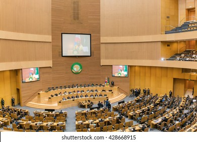 Addis Ababa - May 27: H.E. MME. Park Geun-Hye, President of South Korea visits the African Union Commission accompanied by Prime Minister of Ethiopia, on May 27, 2016, in Addis Ababa, Ethiopia.
