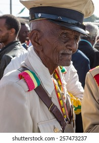 Addis Ababa - Sept 2: A decorated war veteran attends the 119th Anniversary of the Ethiopian Army?'s victory over Italian forces in the 1896 battle of Adwa. Sep 2, 2015, Addis Ababa, Ethiopia.