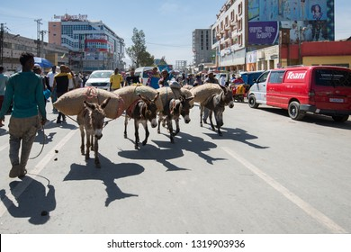 Addis Ababa/Ethiopia -02.16.2019: Donkeys carry a load on the street of Addis Ababa