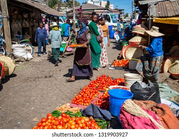 Addis Ababa/Ethiopia -02.16.2019: People selling vegetables on the City market