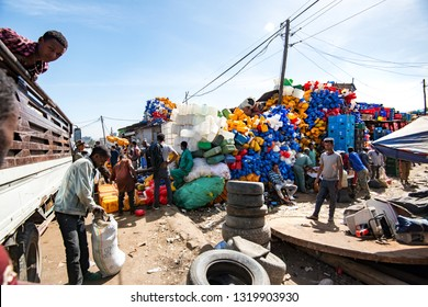 Addis Ababa/Ethiopia -02.16.2019: Сollection of plastic waste in the city market